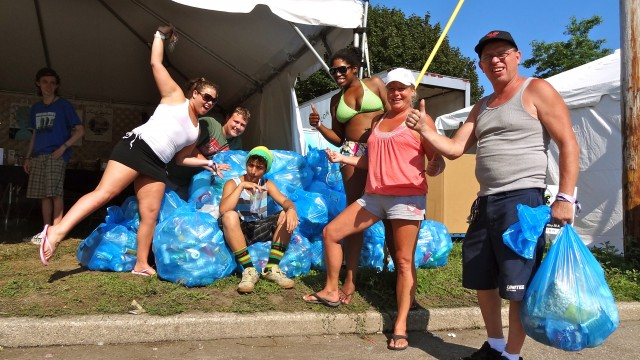 Recycling with friends at Gathering of the Vibes 2012!